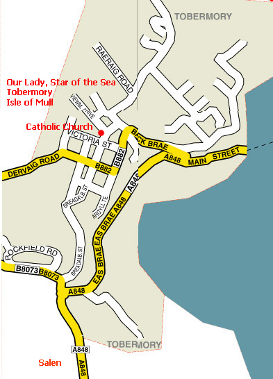 Directions to Catholic Church Tobermory